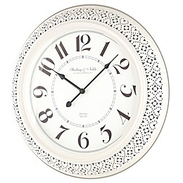 Sterling & Noble™ Farmhouse Collection Pierced Metal 21-Inch Wall Clock in Cream