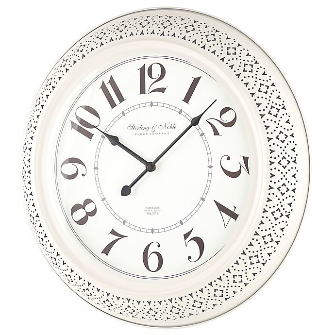 Sterling Noble Farmhouse Collection Pierced Metal 21 Inch Wall Clock In Cream Bed Bath Beyond