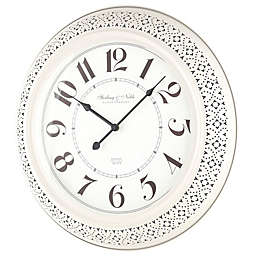 Sterling & Noble™ Farmhouse Collection Pierced Metal Wall Clock in Cream