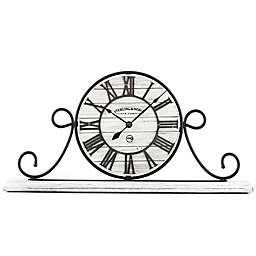 Sterling & Noble™ Farmhouse Collection Wrought Iron Mantel Clock in Whitewash