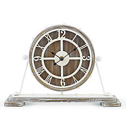 Sterling & Noble™ Farmhouse Collection Rustic Wood Mantel Clock in Brown/Cream