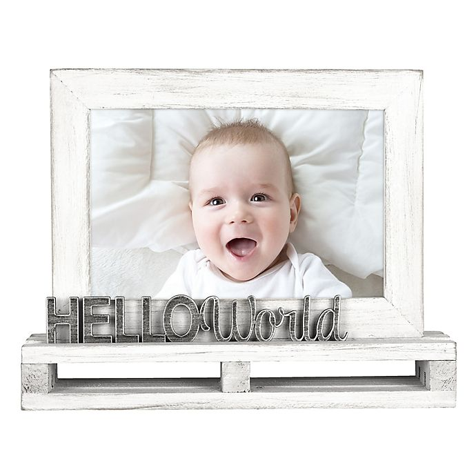 Alternate image 1 for Hello World 4-Inch x 6-Inch Wood Pallet Photo Frame in White