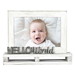 Hello World 4-Inch x 6-Inch Wood Pallet Photo Frame in White
