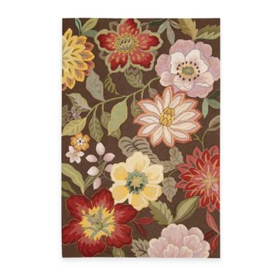 Nourison Fantasy Wild Flower Area Rugs In Chocolate Bed