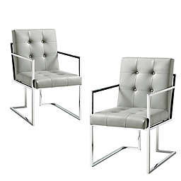 Inspired Home Shiloah Dining Chairs in Light Grey (Set of 2)