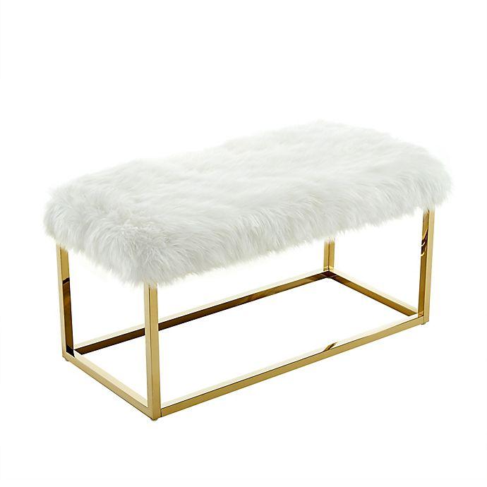 Astonishing Inspired Home Faux Fur Willard Bench In White Bed Bath Uwap Interior Chair Design Uwaporg