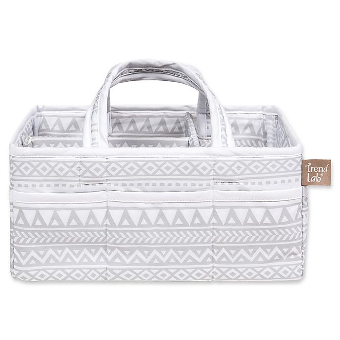 Alternate image 1 for Trend Lab® Aztec Forest Diaper Caddy in Grey/White