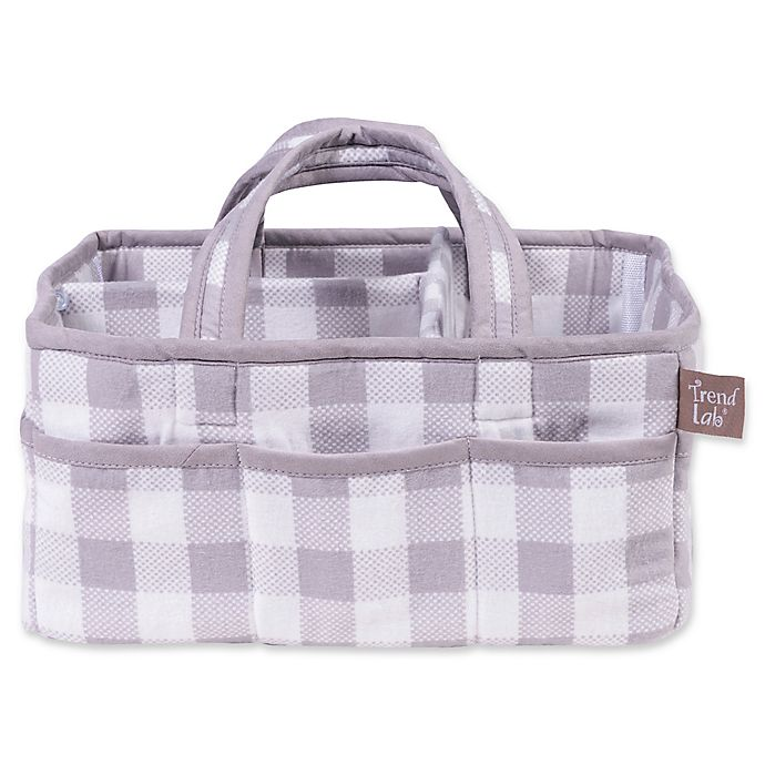 Alternate image 1 for Trend Lab® Buffalo Check Diaper Caddy in Grey/White