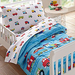 Wildkin Trains and Planes 4-Piece Toddler Bedding Set in Blue