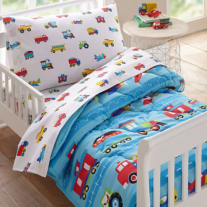 Alternate image 1 for Wildkin Trains and Planes 4-Piece Toddler Bedding Set in Blue