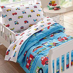 Wildkin Trains and Planes 4-Piece Toddler Bedding Set in Blue