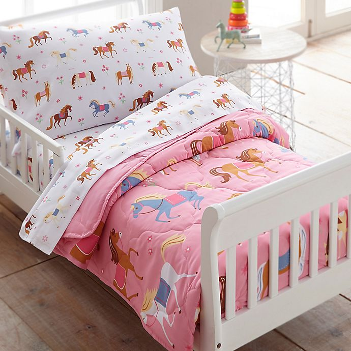 Alternate image 1 for Wildkin Horses 4-Piece Toddler Bedding Set in Pink