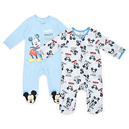 Disney® Size 0-3M 2-Pack Mickey Mouse Footies in Heather Blue