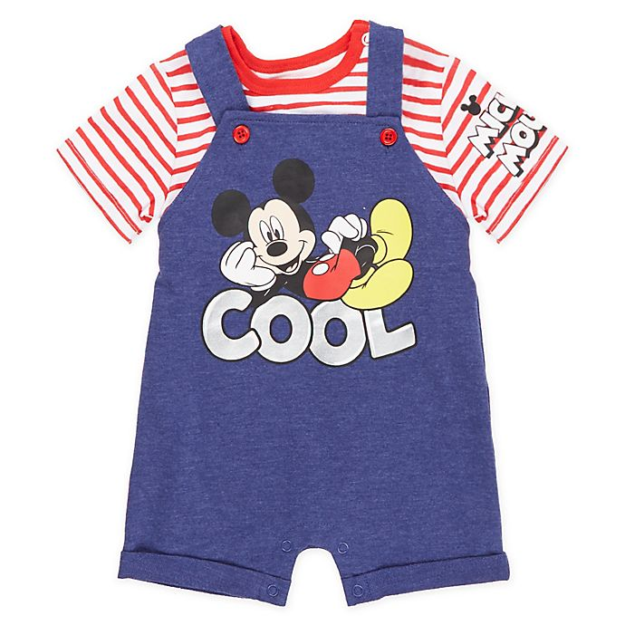 Alternate image 1 for Disney® 2-Piece Mickey Mouse T-Shirt and Shortall Set in Red/Blue