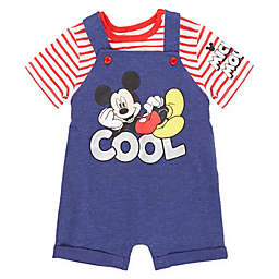 Disney® 2-Piece Mickey Mouse T-Shirt and Shortall Set in Red/Blue