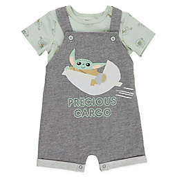 Star Wars® 2-Piece Baby Yoda Shirt and Romper Set in Grey/Green