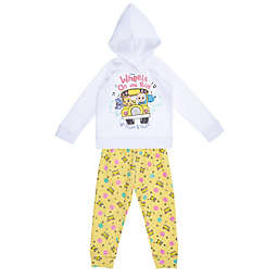 """Cocomelon Size 18M """"Wheels on the Bus"""" 2-Piece Fleece Set in Cream/Yellow"""