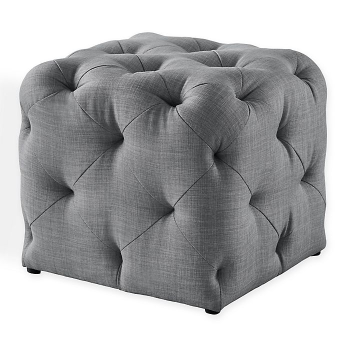 Alternate image 1 for Inspired Home Linen Cecil Ottoman in Light Grey