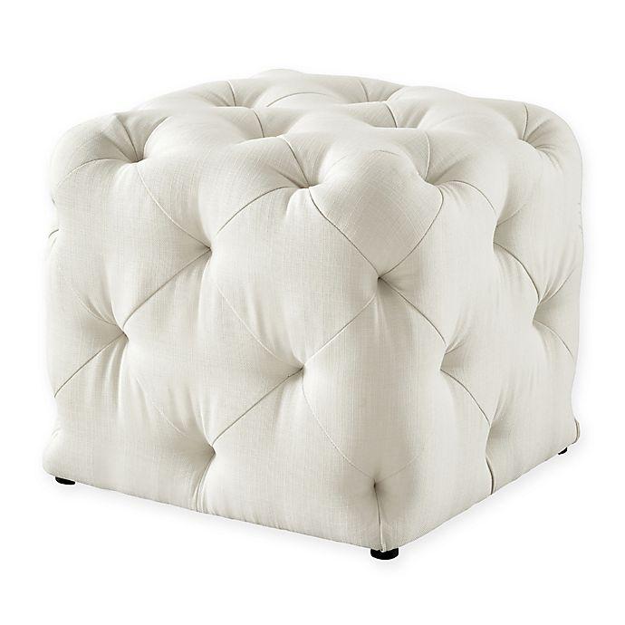 Alternate image 1 for Inspired Home Linen Cecil Ottoman in Cream White