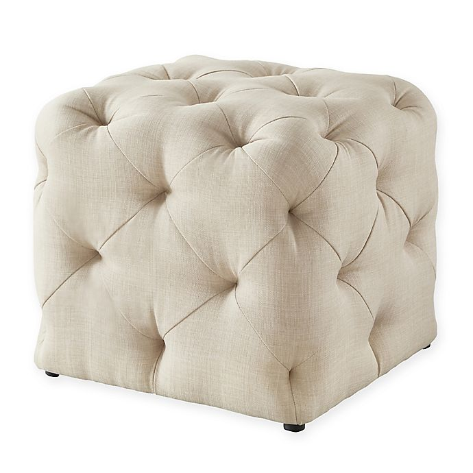 Alternate image 1 for Inspired Home Linen Cecil Ottoman in Beige