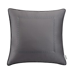 Valeron Hotel Border Square Throw Pillow in Charcoal