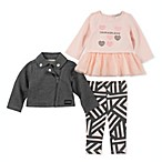 Calvin Klein® Size 12M 3-Piece Motorcycle Jacket, Top and Pant Set