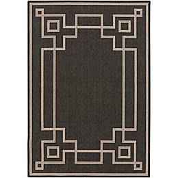 Surya Alfresco Border Indoor/Outdoor Rug in Black/Brown