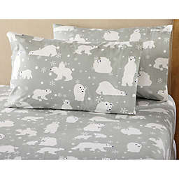 Great Bay Home Stratton Collection Polar Bear Flannel Sheet Set