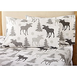 Great Bay Home Stratton Collection Moose Flannel Sheet Set