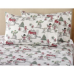 Great Bay Home Stratton Collection Winter Wonderland Flannel Queen Sheet Set in White