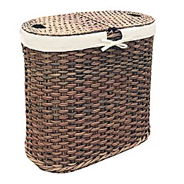 Seville Classics Hand-Woven Oval Double Laundry Hamper in Mocha