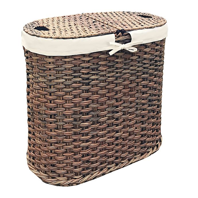 Alternate image 1 for Seville Classics Hand-Woven Oval Double Laundry Hamper in Mocha