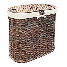 Seville Classics Hand-Woven Oval Double Laundry Hamper in Mocha