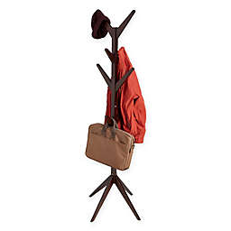 Mind Reader 8-Hook Free Standing Entryway Wood Coat Rack