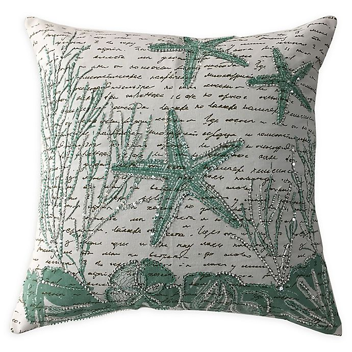 Alternate image 1 for Beaded Sea Life Square Throw Pillow in White/Aqua
