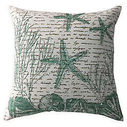 Beaded Sea Life Square Throw Pillow in White/Aqua