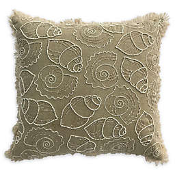 Beaded Sealife Square Throw Pillow in Beige