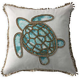 Embroidered Sea Turtle Square Throw Pillow in White/Aqua