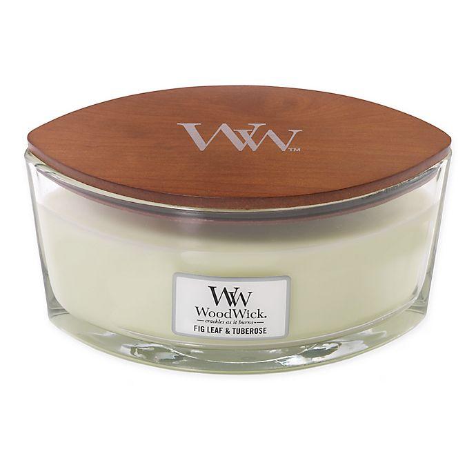 Alternate image 1 for WoodWick® Hearthwick® Flame Fig Leaf & Tuberose Ellipse Jar Candle