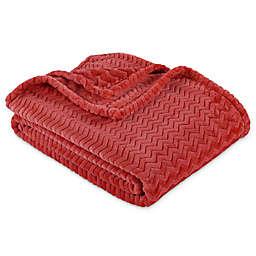 Berkshire Blanket® VelvetLoft® Chevron Throw Blanket in Orange