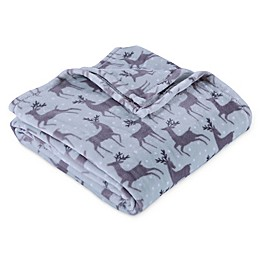 Berkshire Blanket® Reindeer VelvetLoft Throw Blanket in Light Blue