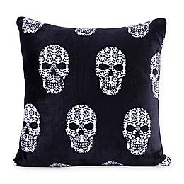 Berkshire Blanket® Skull Print VelvetLoft Square Throw Pillow in Black/White