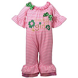 """Bonnie Baby """"Lucky Girl"""" Romper in Pink"""