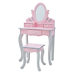 Teamson Kids  Little Princess Rapunzel Toy Vanity Set in Pink/Grey