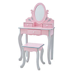 Teamson Kids Little Princess Vanity Table and Stool Set in Pink/Grey