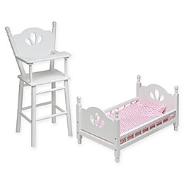 Badger Basket English Country Doll High Chair and Bed Set with Chevron Bedding in White