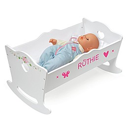 Badger Basket Doll Cradle with Bedding and Personalization Kit in White Rose