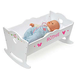 Badger Basket Doll Cradle with Bedding in White Rose