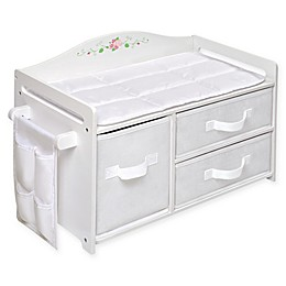 Badger Basket Doll Care Station with Baskets in White Rose