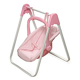 Badger Basket Doll Swing with Portable Carrier Seat in Pink Gingham